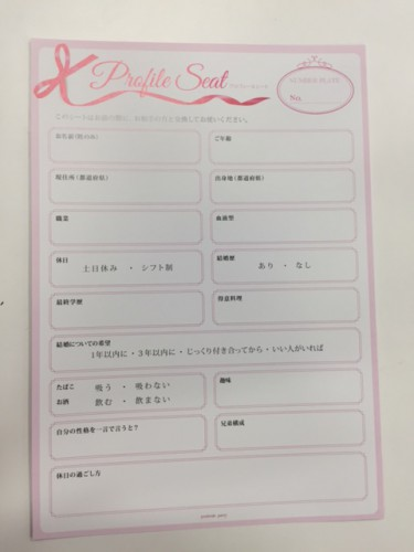 婚活のプロフィールカード